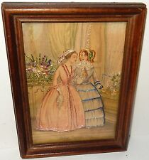 GODEY'S FASHIONS 19TH CENTURY SILK EMBOSSED HIGH SOCIETY WOMAN TAPESTRYPAINTING