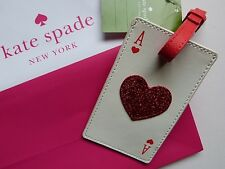 Kate Spade Leather Luggage Tag / Bag Charm GENUINE ACE OF HEARTS