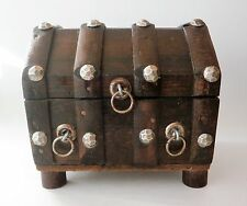 Cute Small Vintage Wooden Pirate's Treasure Chest Trinket Jewelry Box