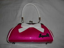 SUPER Floozy Purse by Sourpuss Pink Vinyl White Bow Pin Up Girl Retro NWOT