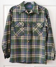 Vintage Pendleton Men's S Wool Plaid Board Shirt Green Loop Green Blue Beige Red