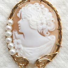 Hand Carved Shell Cameo Pendant 14K Rolled Gold Heirloom Jewelry Pearls White