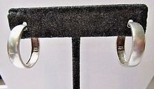 STERLING SILVER CLASSIC HOOP LOOP SHAPE PIERCED EARRINGS CONSERVATIVE SIMPLE 925