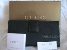 NEW GUCCI Black GG Satin Canvas Leather Checkbook Continental Coin Purse Wallet