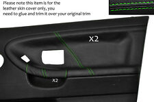 GREEN STITCH 2X FRONT DOOR CARD LEATHER COVERS FITS BMW E36 SALOON SEDAN 91-98