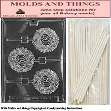 Number 60 Lolly Chocolate candy mold +25 Sticks