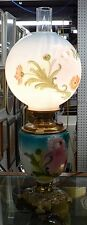 BEAUTIFUL DOUBLE GLOBE ELECTRIC HURRICANE TABLE LAMP BLUE WITH PINK