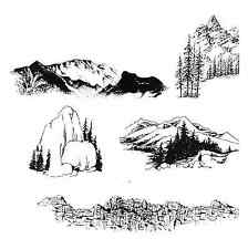 Mountains - Alpine - Tree dotted - Southwest  5 UNmounted Rubber Stamps