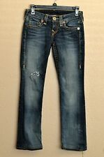 True Religion Jeans 24 Distressed Dark Wash 28.5 Inseam Boot Cut Buckle
