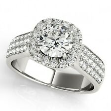 1.80 CTW Certified Diamond Bridal Solitaire Halo Ring 18K White Gold... Lot 8500