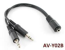 "6"" 3.5mm Stereo 1 Female to 2 Male Y Splitter, AV-Y02B"