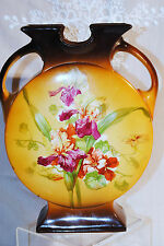 ANTIQUE LA BELLE CHINA WP VASE FLOWERS IRISES BROWN ORANGE W.VIRGINIA