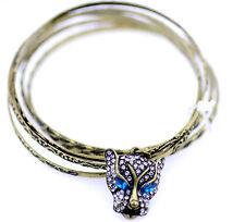 Vintage style set of 6 bronze charm bracelet bracelets with a crystal leopard