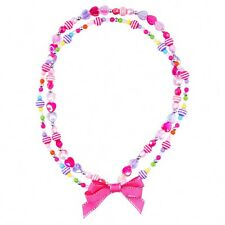 Pink Poppy Hippy Girl with Ribbon Bow Necklace Girls