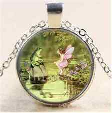 Fairy and Frog Photo Cabochon Glass Tibet Silver Chain Pendant Necklace