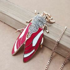 DD316 New design gold plating Crystal Cicada sweater chain necklace