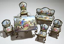 Austrian Enamel MIniature Doll House Furniture Table Bench 4 Chairs C. 1920