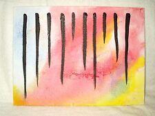 Pintura De La Lona Arte Moderno Abstracto 'diez líneas de 16x12 pulgadas Acrílico Negro