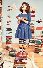 NWT Mini Boden Roald Dahl Girl Blue Matilda Alphabet Dress 6 7 w/ Striped Tights