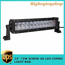 4D 14INCH 72W LED LIGHT BAR WORK SPOT FLOOD BEAM CAR BOAT DRIVING Toyota SUV
