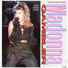 MADONNA - Gambler [Extended Dance Mix] Vinyl MAXI 45 TOURS 1985 Maxi-Single 12""