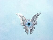 VICTORIAN FILIGREE STYLE BUTTERFLY SILVER BLUE EVIL EYE PENDANT NECKLACE GREECE