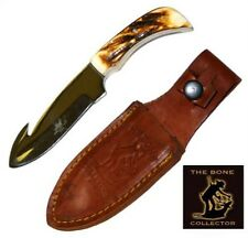 Bone Collector Knife BC-803 Blade Hunting Skinning Knife w/Leather Sheath BC803