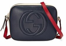 NEW GUCCI Soho Leather Logo GG Shoulder Bag Crossbody Purse Navy/White/Red