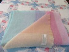 VTG 70'S PASTEL COLORS OF THE RAINBOW BRUSHED WOOL THROW MADE IN ITALY-101x50