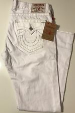 NWT TRUE RELIGION Men's SKINNY W/FLAPS ASCOT GREY SN OPTIC WHITE JEANS Sz 38/34