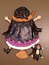 Witch, Cat & Broom Halloween Decor Wall Door Mount Hang LIGHTS Up SPOOKY Sound