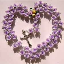 Soft Cerami BEADS ROSARY CROSS PURPLE ROSE Glass medal crucifix necklace