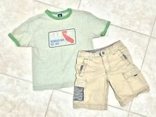 ☀️ GAP KIDS Boys Green Tee Shirt Top & Khaki Tan Cargo Shorts Outfit Set XS 4