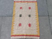 Vieux traditionnel fait main persan orientale kilim tapis laine brun doré 95x65cm
