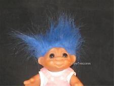 "5.5"" 1984 DAM TROLL BLUE HAIR SWIVELHEAD PINK BIBS W/ STRIPED SHIRT CUTE!   v774"