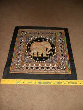 "Kalaga Tapestry ELEPHANT Thailand Beads & Sequins 19 1/2"" Square Beautiful #A"