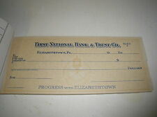 VINTAGE FIRST NATIONAL BANK ELIZABETHTOWN, PA CHECKBOOK W/ REMAINING CHECKS 1960