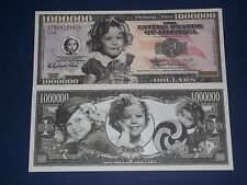 ONE MILLION DOLLAR UNCIRCULATED NOVELTY U.S BANKNOTE OF SHIRLEY TEMPLE!