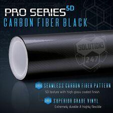 "5D High Gloss Black Carbon Fiber Vinyl Wrap Bubble Free Air Release 24"" x 60"" In"