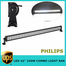 "42"" 240W LED Light Bar S/F COMBO 12V 24V Offroad Toyota 4X4 Truck JEEP PHILIPS"