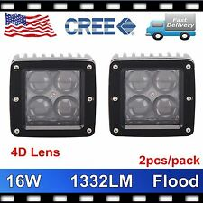 2X 16W CREE LED Work Light Driving Fog Flood Cube Pods Offroad 4D Opticals 3inch
