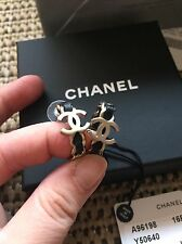 NWT CHANEL 2016 HOOP EARRING CLASSIC Black Leather Gold CC SOLDOUT Earrings