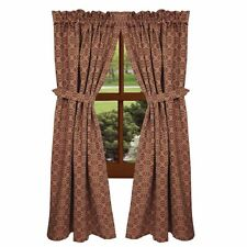 New Primitive Colonial Barn Red Tan Coverlet LOVER'S KNOT Curtain Drapes Panels