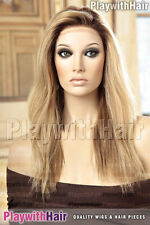 Supreme Style!! Hand Tied Mono Top Remy Human Hair Wig Soft Blonde Regrowth Stac