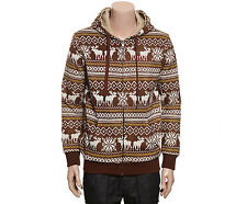 NII Mens Casual Nordic Pattern Fleece Zip Up Hoodie Jacket Brown Size M NWT