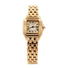 CARTIER PANTHER QUARTZ WOMENS WATCH WHITE DIAL 18K SOLID YELLOW GOLD  22MM