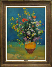 Andre Vignoles Original Oil Painting on Canvas Signed Artwork Still Life Flowers