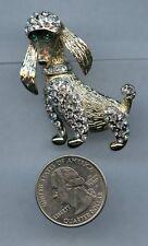 Vintage Gold Rhinestone Pin Brooch Poodle Dog BagK