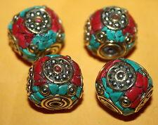 Tibetan beads Tibet beads Nepal beads Turquoise beads  4 Nepalese Beads BD827