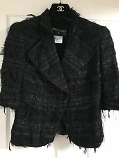 Chanel 05A MOST WANTED LESAGE BLACK TWEED LACE RIBBON Jacket CC buttons FR38 $6K